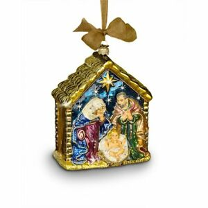 Jay Strongwater  Holy Family Glass Ornament Swarovski  SDH2107-250 NEW