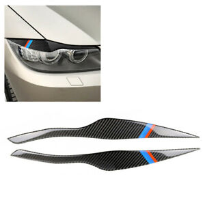 2PCS Carbon Fiber Universal Car Headlight Eyelid Cover Decoration Sticker DIY