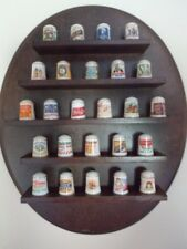 Franklin Porcelain Country Store 25 thimble collection & display rack & cards