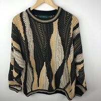 Vintage Tundra Pullover Sweater Mens Medium Coogi Style Brown Cotton