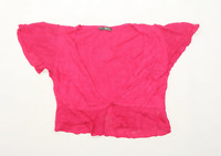 BHS Womens Size 14 Linen Blend Pink Cropped Cardigan (Regular)