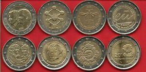 BELGIQUE 8 X 2 EURO commémoratives 2005-2006-2008-2010-2011-2012-2012-2014