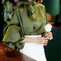 Ladies Retro Satin Lantern Sleeve Shirt Bow Tie Neck Loose Elegant Blouse Tops