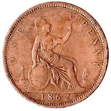 More details for 1862 one penny of queen victoria /very high grade       #jan8