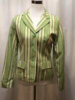 Larry Levine Women's Lime Green Orange Stripe Blazer Jacket Size 4 Spring