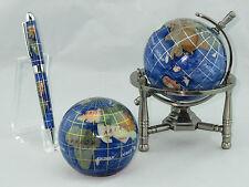 Genuine Multi-Gemstone 3 Leg Desktop Globe, Paper Weight, & Pen Set - Navy Blue