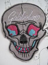 GOBBOLINO SKULL SEW ON WOVEN LABEL PATCH - DIY ROCKABILLY PUNK GOTH