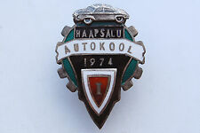 Russian Estonia Driving School Haapsflu 1974 Silver Badge High Grade Very Rare !