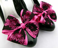 Pink Shoe Clips 4 Shoes Fuschia Black Lace Satin Dorothy Bows Goth Party Cerise