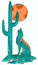 "COPPERCUTTS Coyote Saguaro Moon Plaque 6"" x 10"" Rustic SouthWest Copper & Wood"