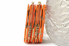 Women's Fashion Orange Beads Brass Boho Bangles Bracelet Set Orange