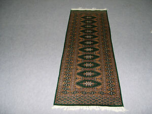 Wool Indian Area Rug 2'x6' Oriental Carpet Hand Made Green Color Runner Best One
