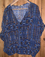 F&F Size 22 Blue Bright Peasant Style Blouse Top Short Sleeve Tribal Aztec Batik