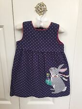 NWT Baby Boden/ Mini Boden Corduroy Bunny Pinnie, 18-24m, Easter Dress