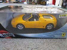 Hot Wheels Ferrari 360 Spider 1/18 Yellow Diecast New In Box