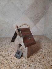 New listing Rustic Decor Primitive Handmade Vintage Wood Metal Roof Farmhouse Birdhouse