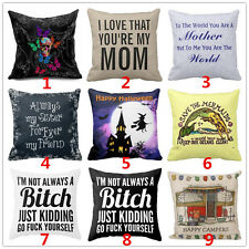 Vintage Funny Words Cotton Linen Throw Pillow Case Bed Cushion Cover Home Decor