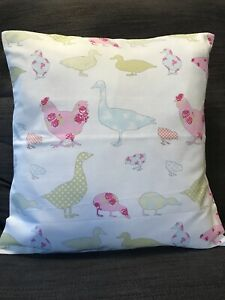 Handmade Pretty Vintage Pastel Ducks & Chickens Envelope Back Cushion Cover 17""