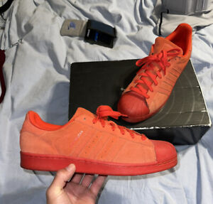 Rare Adidas Superstars Red / Red / Red Suede Upper