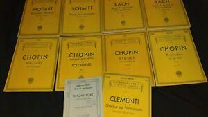 Schirmer's Library Vintage Piano Sheet Music Mozart Chopin Bach Clementi Schmitt