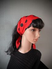 Red and black polka dot hair scarf, rockabilly 50s headband, black spotted scarf