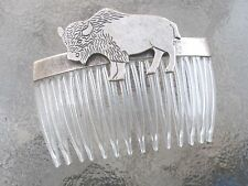 Vintage Hair Comb Buffalo Antiqued Silver Plated Clear Comb  Made in USA 018