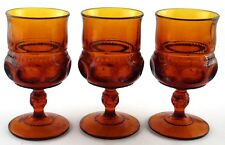 Indiana Dark Amber Thumbprint Goblets Set of 3 Drinking Water Tea Glass Vintage