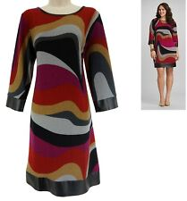 14 Large XL SEXY Womens ABSTRACT PRINT SHIFT KNIT DRESS Day/Evening All-Season