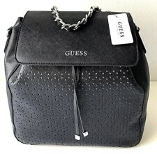 Guess Charisma Backpack Crosbody Bag Convertible Black Silver NWT