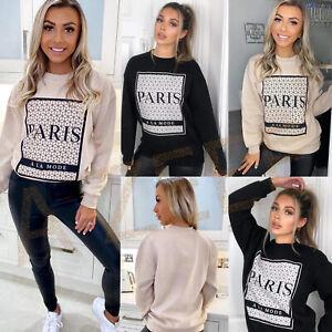 New Women Long Sleeve Paris Slogan Printed Ladies Oversized Casual Sweatshirt
