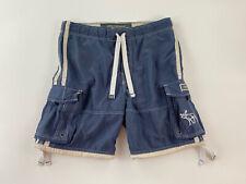 """ABERCROMBIE """"Tugger"""" Swim Trunks Board Shorts Cargo Blue - Men's Size Small (S)"""