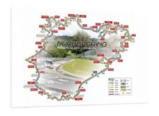 Nurburgring Nordschleife Circuit Map - 30x20 Inch Canvas Art Framed Picture