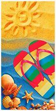 """30""""x60"""" Sunny Beach """"Sun Sand & Sandal"""" Beach Towel"""