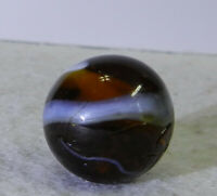#11130m Vintage Amber Glass Single Pontil Transition Transitional Marble .68 In