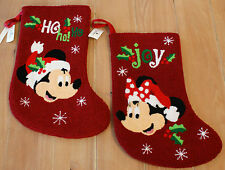 New Disney Parks MICKEY & MINNIE Santa Christmas Stockings - Set of 2