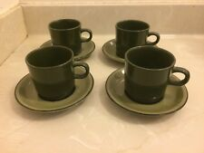 VINTAGE FASHION MANOR SARACEN STONEWARE OLIVE GREEN CUPS & SAUCERS SET OF 4