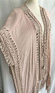Blue Island Blush Pink Crochet Trim Chiffon Kimono Fringe Asymmetrical Size S/M