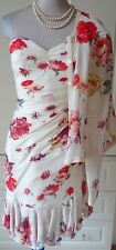 EMANUEL UNGARO CREAM FLORAL CREPE SILK DRESS AND BLOUSE TOP SIZE UK 6 SMALL 8