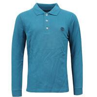 Timberland Long Sleeve Kids Boys Cotton Polo Shirts Top Teal TB0A1441 UA111