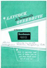 SUNBEAM Rapier SERIE I Overdrive 1955-58 UK Mercato Opuscolo & Istruzioni