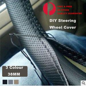 Universal PU Leather DIY Car Steering Wheel Cover With Needles  Thread  Black AU