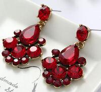 1 Pair Elegant Red Crystal Rhinestone  Ear Drop Dangle Stud long Earrings 164