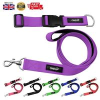 OneUP Nylon Dog Pet Puppy Collar Lead Leash Set Adjustable Strong Black Pink Red