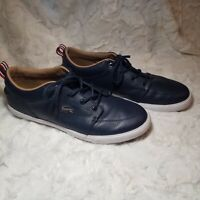 Men's Lacoste Bayliss Leather Lace Up Casual Sneakers Shoes Navy Blue Sz 10