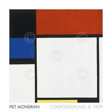 ART PRINT Composition No. III / Fox Trot B with Black Red by Piet Mondrian 24x24