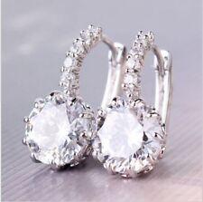 Elegant 925 Sterling Silver Hallmarked CLEAR Crystal Hoop Earrings Jewelry UK