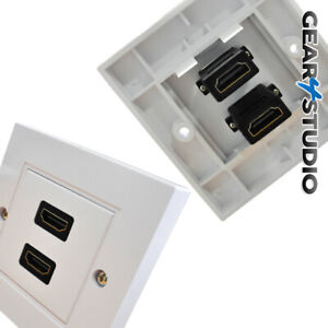 HDMI Double Socket Wall plate 2 Sockets easy Hookup Plug & Play - NO SOLDERING