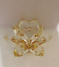 Crystal Lotus Flower Figurine Paperweight -clear with yellow- beautiful