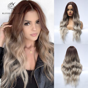26in Long Wavy Light Blonde Synthetic Hair wigs for women Cosplay Party Wig