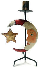 Santa Candle Holder Crescent Moon Star Christmas Painted Folk Art Metal 12""